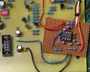 An unsightly hack - but it works. A TL072 summer circuit bodged onto board B.