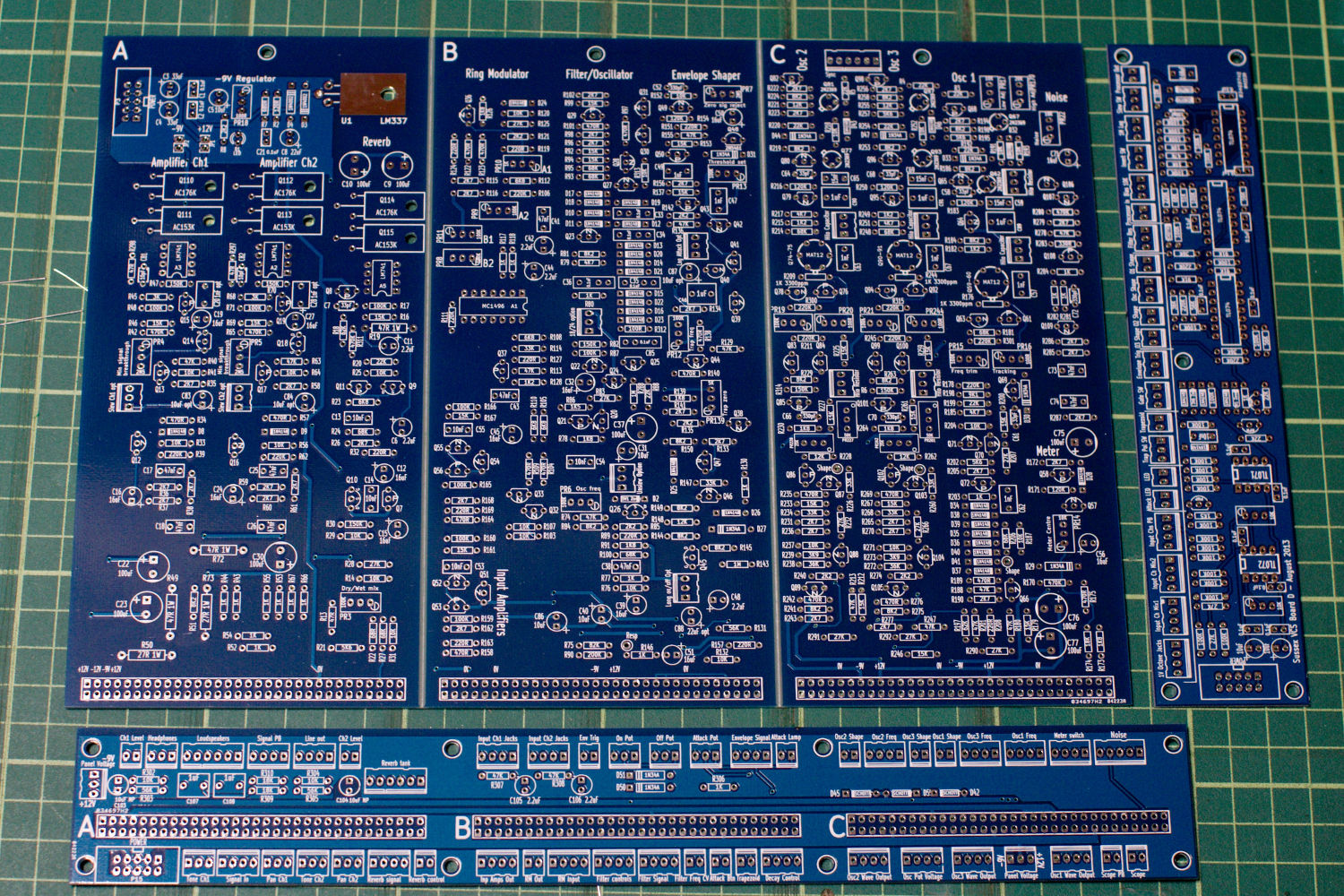 The New Pcbs Sussex Vcs Regulator Mini 9v 075a By Transistor Electronic Projects Circuits Bare Blue Boards